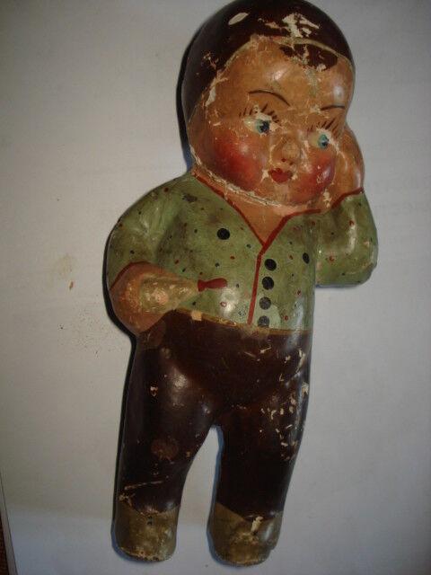 Muñeca De Juguete Antiguo papier maché papier maché Muñeca Bebé Niño 8  década de 1920 Pintado A Mano