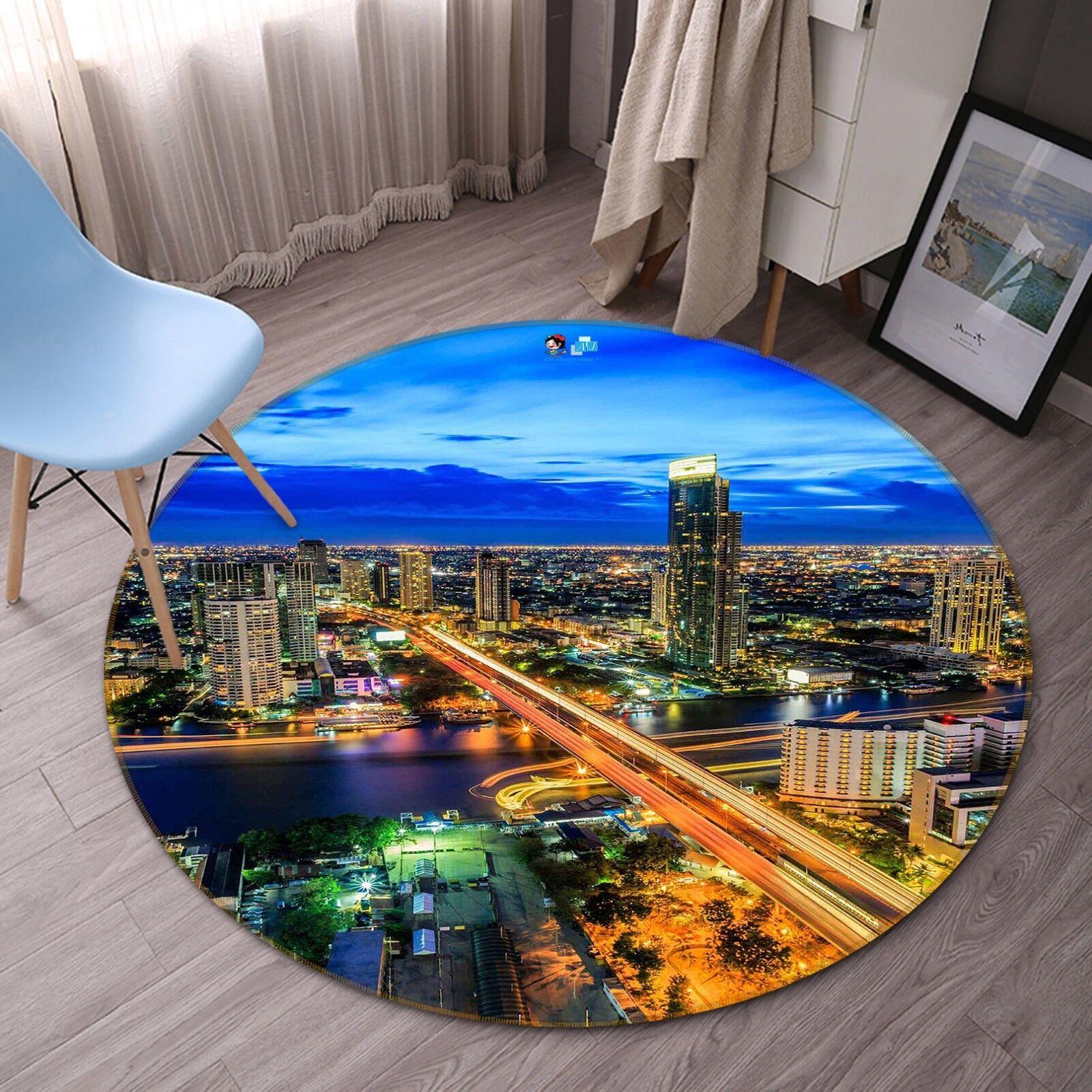3D CITY BRIDGE 4 tappetino antiscivolo tappeto camera Tappetino Tondo Qualità Elegante foto Tappeto UK