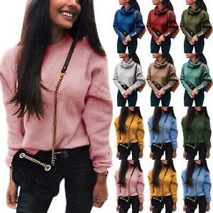 Womens-Warm-Knitted-Pullover-Long-Sleeve-Sweater-Jumper-Solid-Slim-Casual-Tops