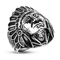 316l Stainless Steel Apache Indian Chief Wide Cast Shield Ring (259)