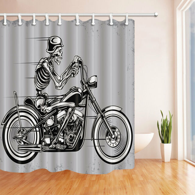 Skeleton Motorcycle Shower Curtain Bathroom Decor Waterproof Fabric 12hooks