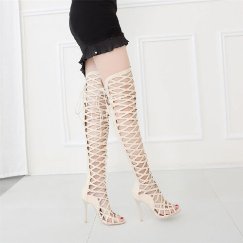 Womens Lace Up Over The Knee Thigh High Stiletto Heels Boots Gladiator Sandals