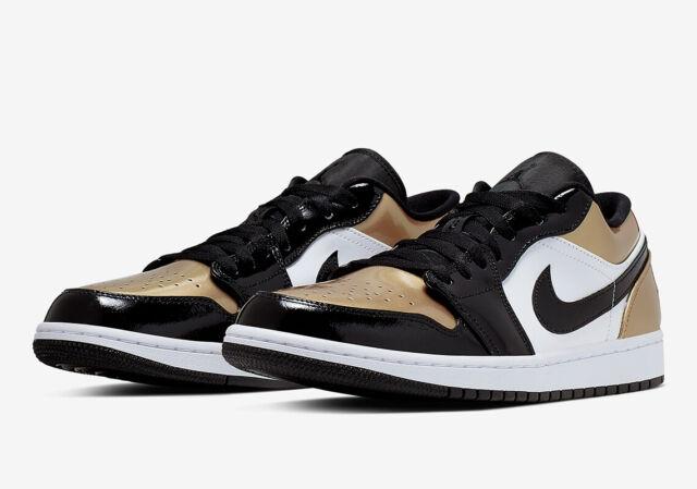 low priced ab6c4 6e379 Nike Air Jordan 1 Retro Low Gold Toe Metallic Gold White Black CQ9447-700  4Y-13