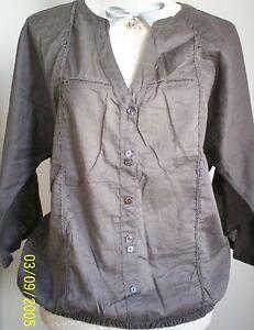Esprit-Sommer-Bluse-Tunika-Shirt-Baumwolle-in-braun-Gr-L-XL