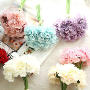 Am-EP-6-Pcs-Bouquet-Artificial-Carnations-Flowers-Home-Decor-Mother-039-s-Day-Gift