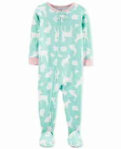 NWT Carters Woodland Animals Heart Print Toddler Girls Footed Sleeper Pajamas