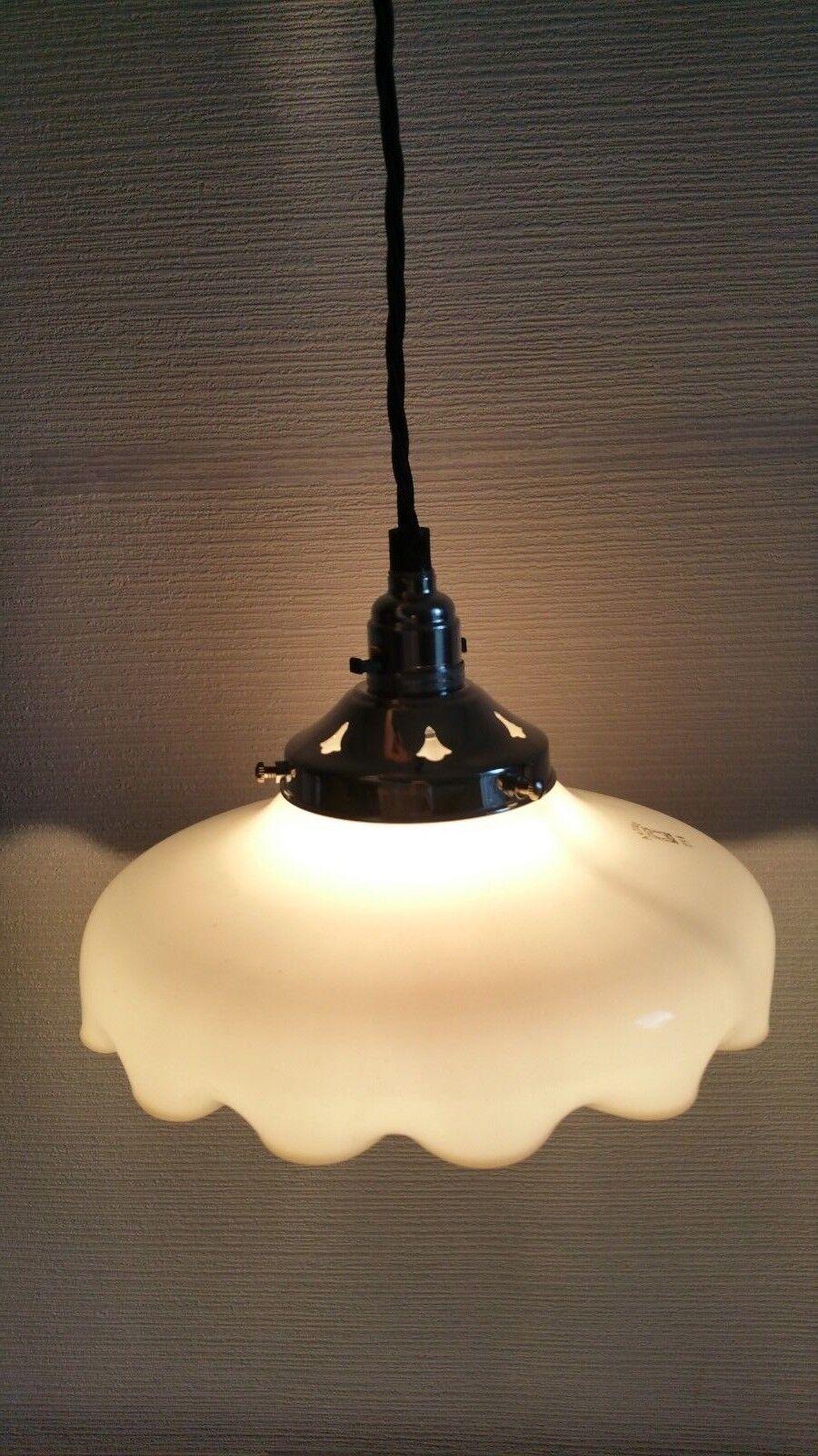 GerFemme vintage SCHOTT & Glass GEN JENA autosit Blanc Milk Glass & Ceiling Light Shade d06bdd