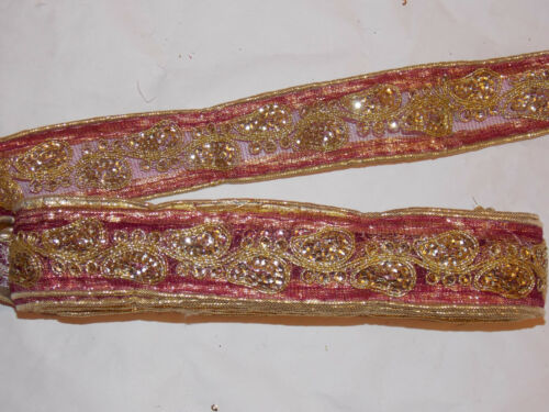 wine gold sequin embroidered net ribbon applique motif trimming decor