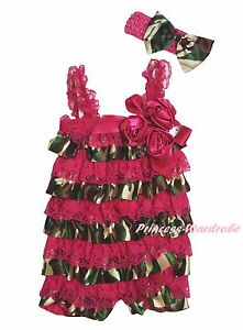 Baby-Girl-Hot-Pink-Camoflauge-Camo-Rose-Crystal-Lace-One-Piece-Satin-Romper-0-3Y