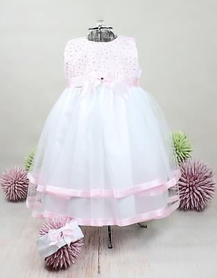 Taufkleid mit Stirnband Spitze Tüll Baby Festkleid Taufe Mädchen weiß-rosa 62-86