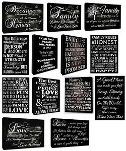 Variety Of Family Wall Art Quotes Love Quotes Picture Black Wall Canvas Prints Ebay