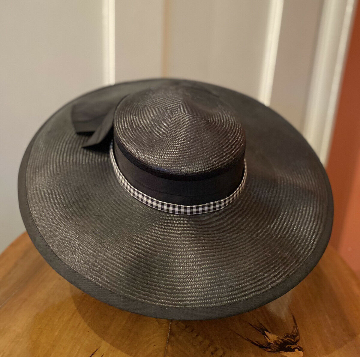 Right Impression Goldlabel Women's Formal Black Hat With Wide Rim Chequered Bow