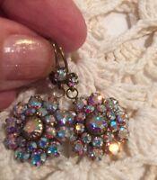 Liz Palacios Opal Moonlight Sparkling Crystal Antique Brass Earrings
