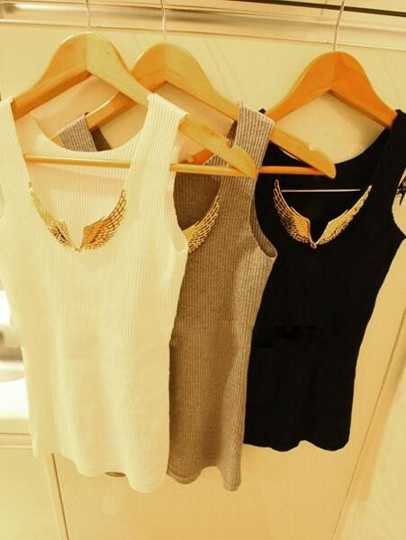 Brand New Women Metal Wings Sleeveless Solid Color Cami Waistcoat T-Shirt Tops