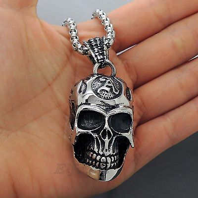 Men's Large Gothic Flaming Skull Stainless Steel Biker Pendant