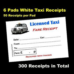 6 Pads Of 50 Colour Printed Licensed Taxi Receipts White Tx4 Logo