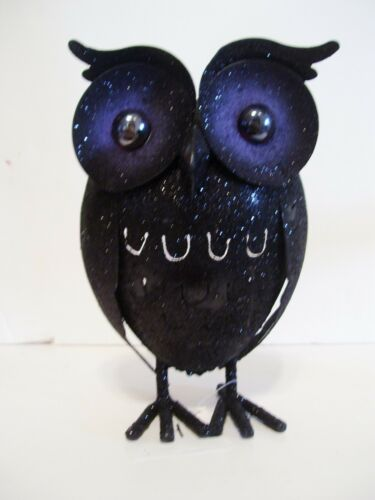 8 INCH BLACK GLITTER METAL OWL DECORATION AUTUMN HARVEST THANKSGIVING