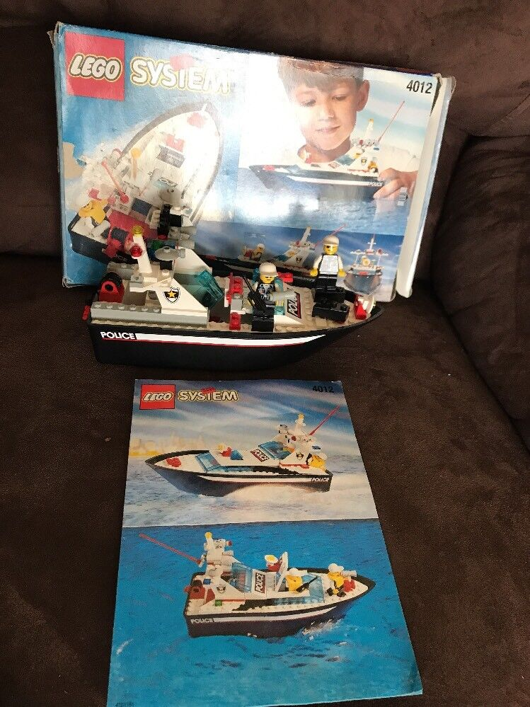 Lego 4012 1996 1996 1996 Retired Police Boat Floats With Box And Instructions Not Complete 44b300