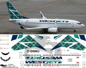 V1 Decals Boeing 737-700 Westjet Tartan Tail for 1/144 Revell Model Airplane Kit