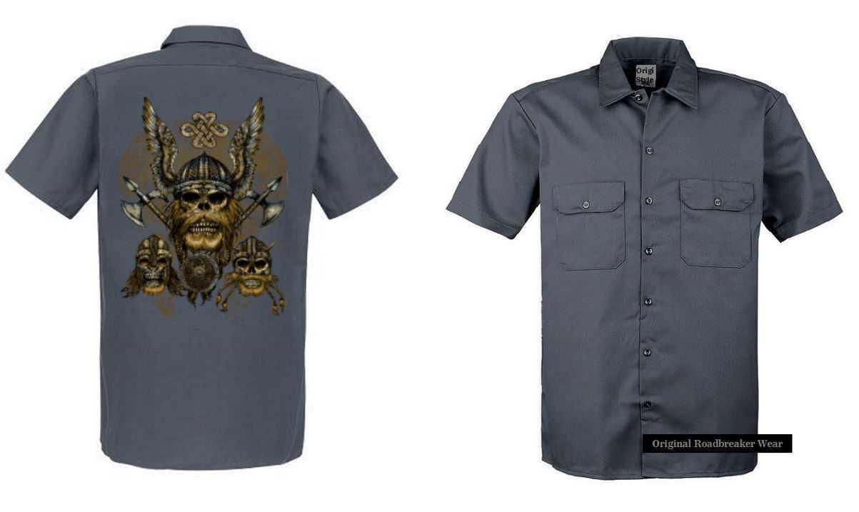 Maglietta Worker Grigio con un Tattoo Fantasia Gotica Modello Viking Marronee