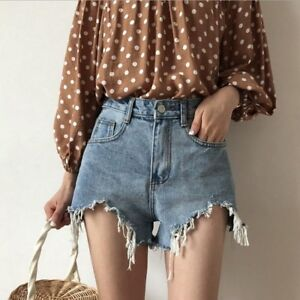 737369c20f9 Image is loading Womens-Summer-Casual-Denim-Ripped-Hold-Shorts-Trousers-