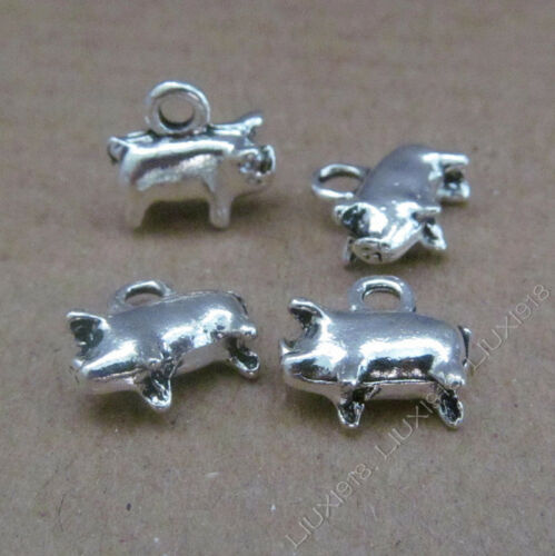 30pc Charms Retro Pig Animal Pendant Bead DIY Jewelry Making Small Pendants 643H