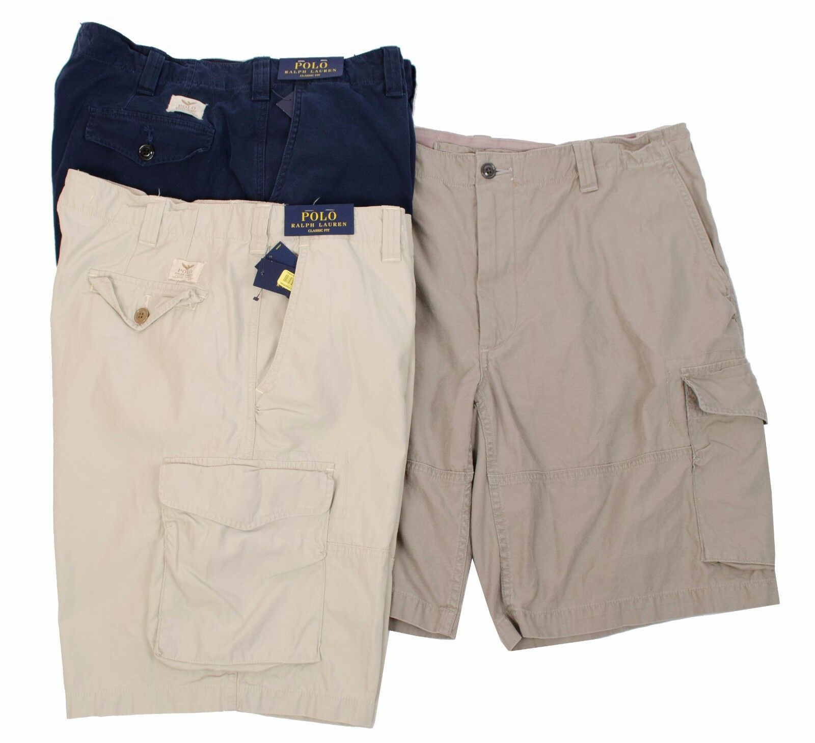 6c1adb478 POLO RALPH LAUREN MEN CLASSIC FIT CARGO CANVAS SHORTS NAVY PEWTER UTILITY  BEIGE olnlzl22875-Shorts