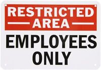 Smartsign Aluminum Sign, Legend employees Only, 7 High X 10 Wide, Black/red