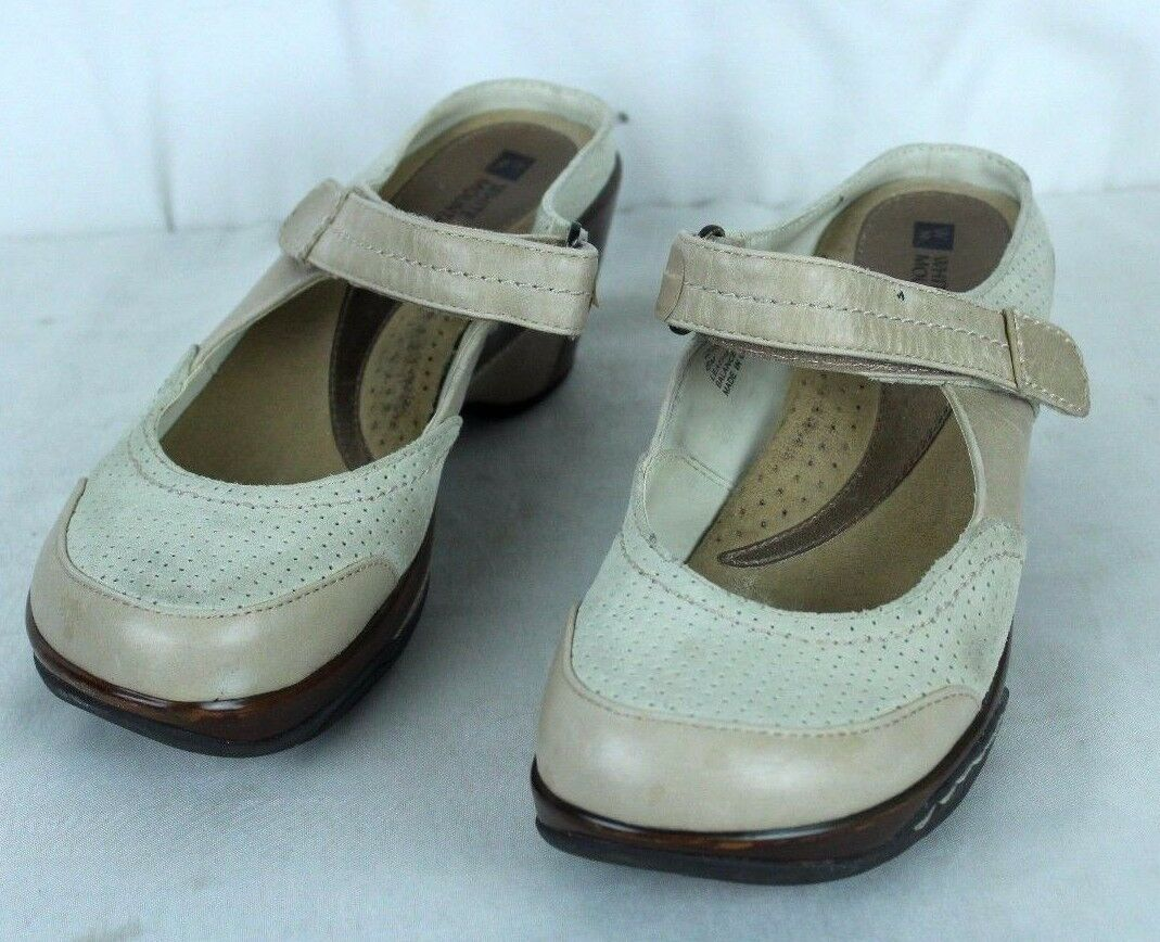 WHITE MOUNTAIN Women's shoes Size 8M Tan Leather Mary Jane Mohawk Mules