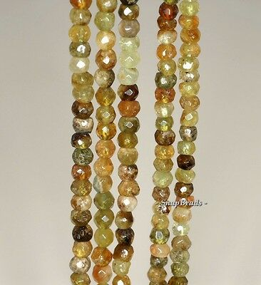 """3MM GREEN PREHNITE GEMSTONE FACETED ROUND 3MM LOOSE BEADS 15.5"""""""