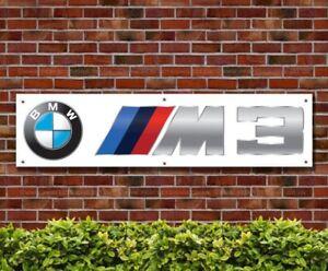 BANPN00210 BMW M3 White PVC Banner Garage Workshop Showroom Advertising Signs