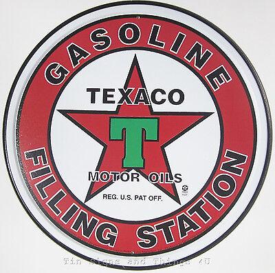 Texaco Gasoline Filling Station ROUND TIN SIGN vintage garage decor 205 (#AUC#)