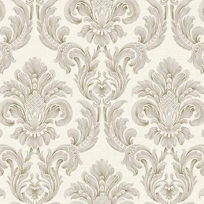 Wallpaper Designer Classic Gray and Gold Raised Ink Damask on Off White