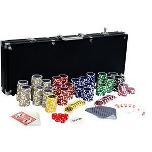 Pokerkoffer Pokerset Poker Set 500 Laser Chips Alu Koffer Jetons BLACK EDITION