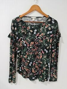 H-amp-M-Womens-Floral-Ruffle-Blouse-Long-Sleeve-Top-Size-EUR-M-or-AU-12