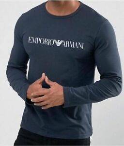 Emporio-Armani-E-A-Marine-Denim-Blue-Mens-Long-sleve-T-shirt-Size-M-L-XL