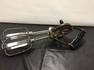 Vintage-Hand-Mixer-Egg-Beater-Stainless-Steel-Beaters-Black-Handle-Copper-Color