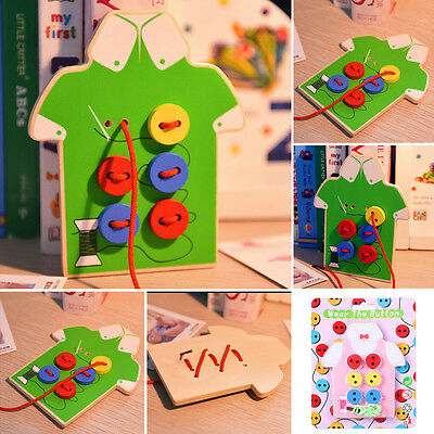 Kids Educational Wooden Toy Fun Sewing Threading Buttons Beads Board Child Gift