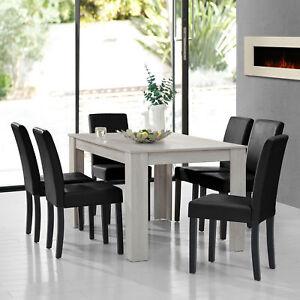 Tavolo da Pranzo Rovere Bianco con 6 Sedie Nero [140x90] Tavolo ...