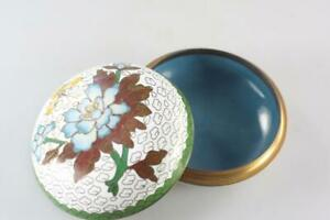 CHINESE-VINTAGE-CLOISONNE-LIDDED-WHITE-BOX-FLORAL-PATTERN