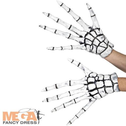 Grim Reaper-Skeleton Gloves Adults Fancy Dress Bones Halloween Costume Accessory