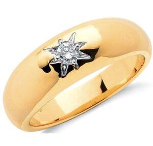 9ct-Yellow-Gold-Natural-Single-Diamond-Men-039-s-Ring-Size-W-UK-Jewellers