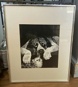 Vintage-Rudy-Droguett-Print-Dog-and-Cat-Framed-Matted-16-x-20-St-Bernard
