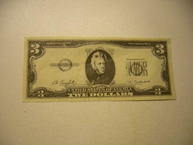 "Vintage  Las Vegas  Mr Sy's Casino ""TWE Dollars"" $3 dollar bill"