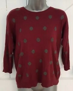 Wine-Red-Grey-Polkadot-Jumper-Size-8-Thin-Knit-VGC-Women-039-s-Ladies-3-4-Sleeves