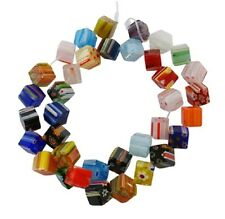 20 x 8mm Millefiori Cube Pattern Glass Beads Mixed Designs - GB42