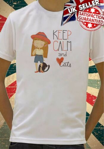 Keep calm and love cats girl and kitten Boys Girls Birthday gift Top T shirt 279