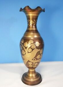 "Solid Brass Vase From India Gold Floral Pattern w Scalloped Edge 11"" Tall"