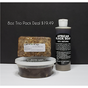 100-RAW-UNREFINED-ORGANIC-AFRICAN-SHEA-BUTTER-BLACK-SOAP-8oz-TRIO-GHANA