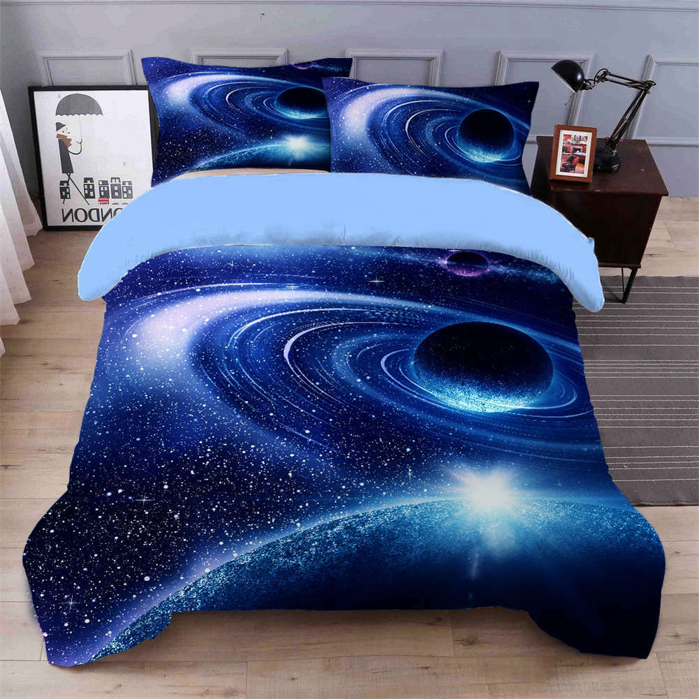 Milky Way Planet 3D Quilt Duvet Doona Cover Set Single Double Queen King Print